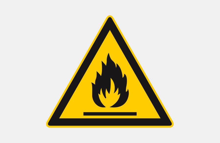 Warnschild - Entflammbar - gelbes Dreieck mit Flamme