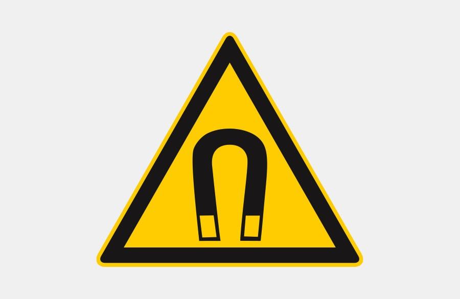 Warnschild Magentisches Feld - gelbes Dreieck mit Magnet
