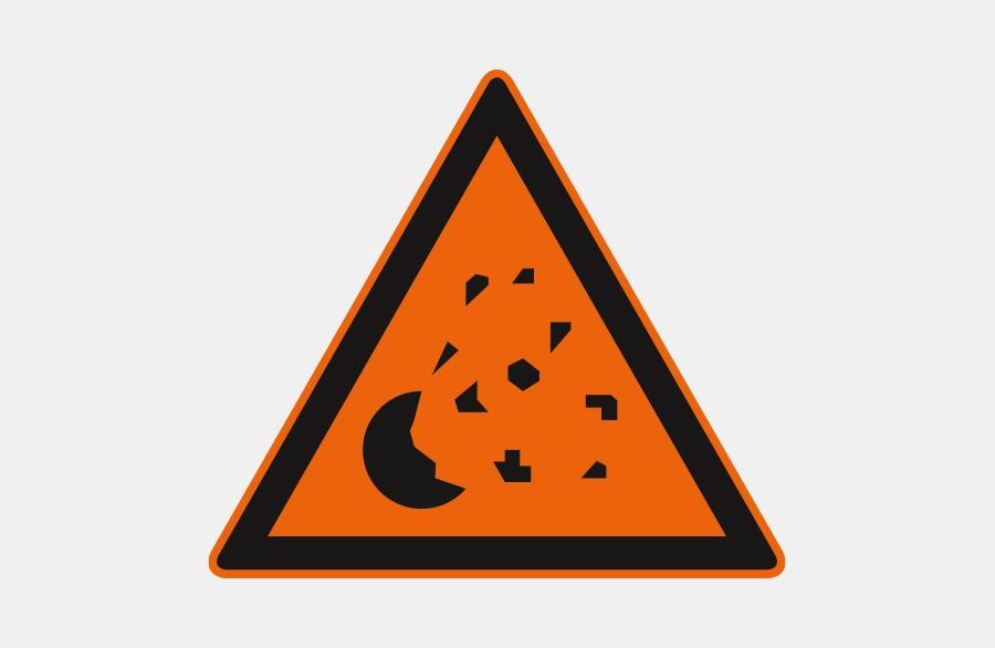 orangenes Warnschild - ein Metall Stück, von dem Metall Stück absplittern