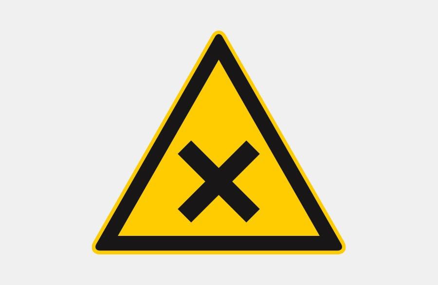 Warnschild Nickel Allergie - Schwarzes X auf einem gelben Dreieck