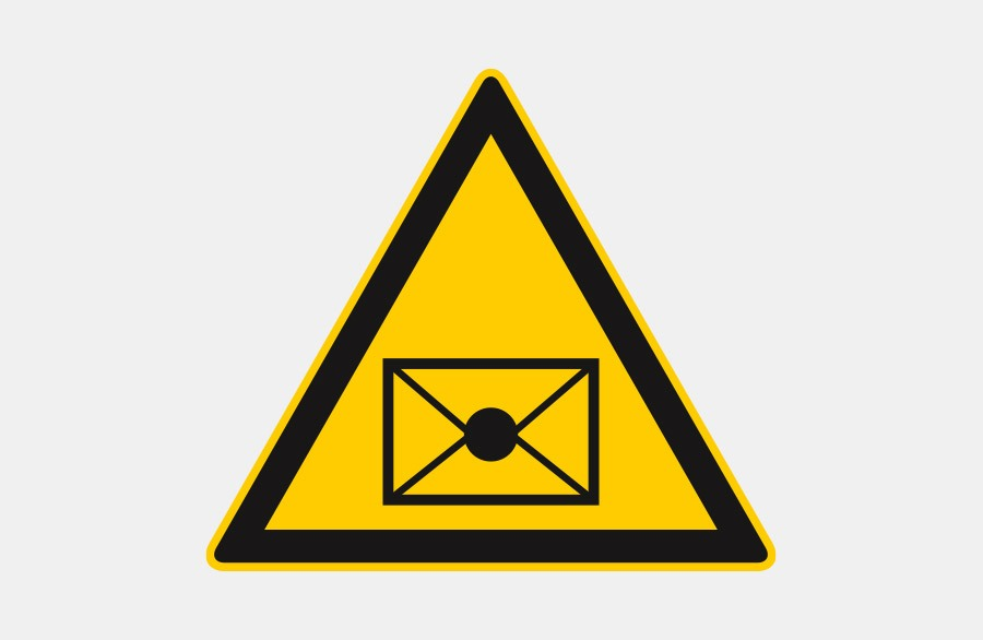 Warnschild - Postversand - gelbes Dreieck mit Brief