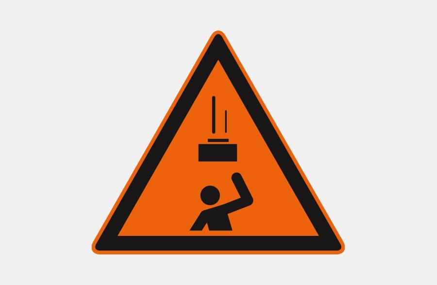 Warnschild - Schwere Gegenstände - Ein schwerer Gegenstand fällt auf eine Person - orangenes Dreieck