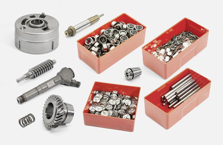 Das Teilespektrum des Tunnerentmagnetiserers KE. Entmagnetisiert kleinere Behälter mit Schüttgut, kleinere Hartmetallteile aber auch grössere Bauteile ohne Probleme. Dank der hohen Feldstärke des Entmagnetisierers KE, können damit schon sehr anspruchsvolle entmagnetisierungsaufgaben gelöst werden.