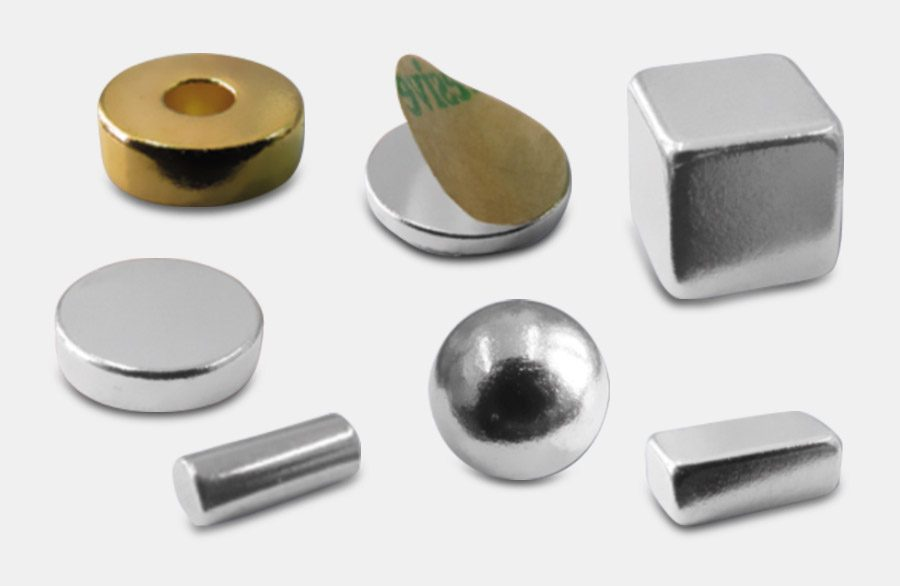 Various permanent magnets. Discs, cuboids or cube magnets. Functional magnets with adhesive or with special coatings.