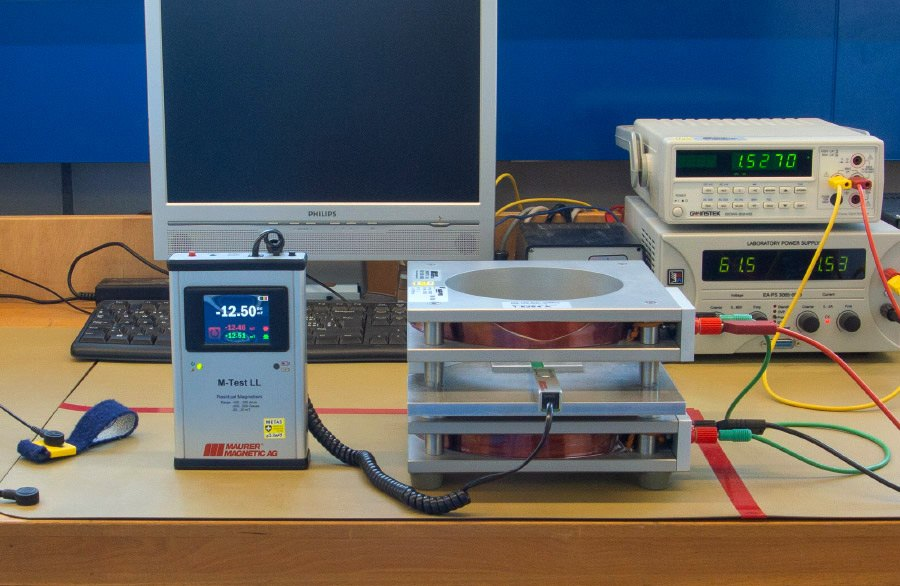 Calibration device of residual magnetism measuring instrument Teslameter or Gaussmeter M-Test LL. The sensor connected to the Teslameter M-Test LL is finely adjusted by means of two coils to set the measuring accuracy.