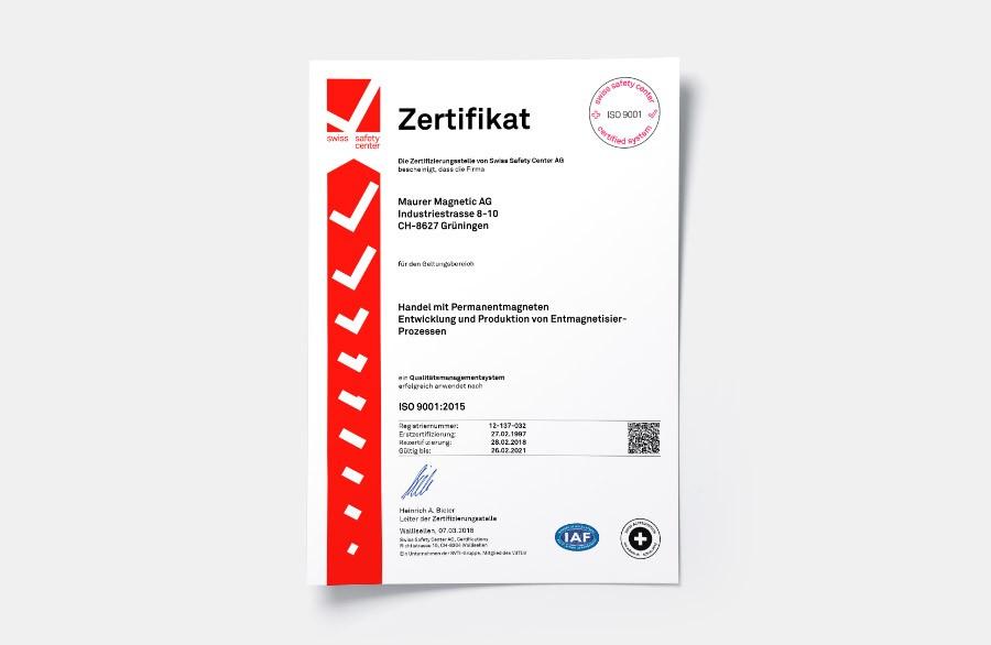 Iso Zertifikat der Maurer Magnetic, geltend für: Handel mit Permanentmagneten, Entwicklung und Produktion von Entmagnetisier-Prozessen